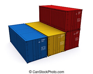 Container - A 3d maded Container on a white background