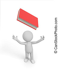 book - A 3d man looking upon a red book