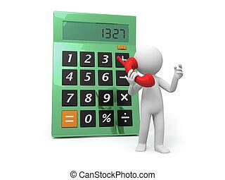 calculator - A 3d man talking , a calculator background