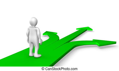 3d man walking on green arrows - A 3d man walking on green ...