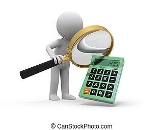 calculator - A 3d man watching a calculator with a...
