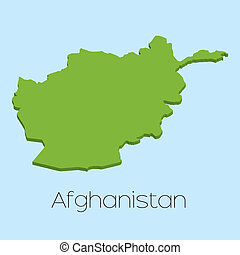 3D map on blue water background of Afghanistan