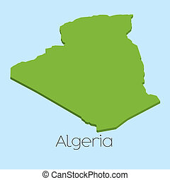 3D map on blue water background of Algeria