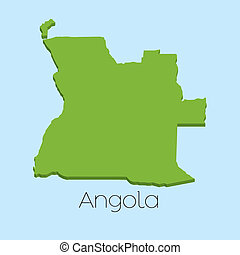 3D map on blue water background of Angola