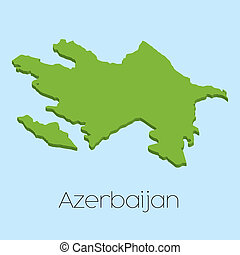 3D map on blue water background of Azerbaijan