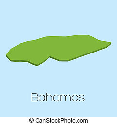 3D map on blue water background of Bahamas