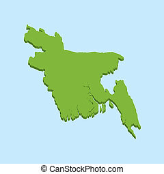 3D map on blue water background of Bangladesh
