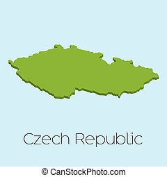 3D map on blue water background of Czech Republic