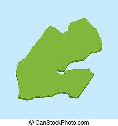 3D map on blue water background of Djibouti