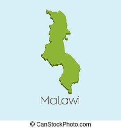 3D map on blue water background of Malawi