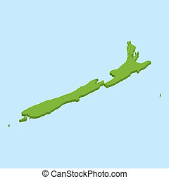 3D map on blue water background of New Zealand