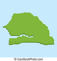 3D map on blue water background of Senegal