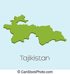 3D map on blue water background of Tajikistan