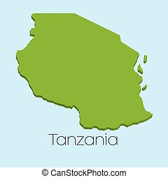 3D map on blue water background of Tanzania