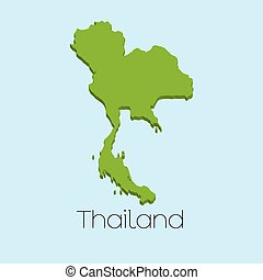 3D map on blue water background of Thailand