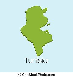 3D map on blue water background of Tunisia