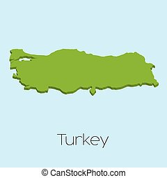 3D map on blue water background of Turkey