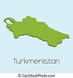 3D map on blue water background of Turkmenistan