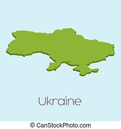 3D map on blue water background of Ukraine
