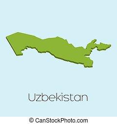 3D map on blue water background of Uzbekistan