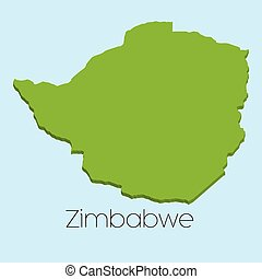 3D map on blue water background of Zimbabwe