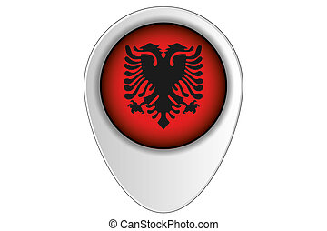 3D Map Pointer Flag Illustration of the country of Albania