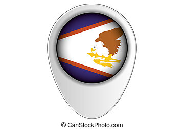 3D Map Pointer Flag Illustration of the country of American Samoa