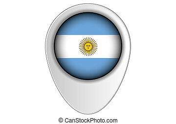 3D Map Pointer Flag Illustration of the country of Argentina