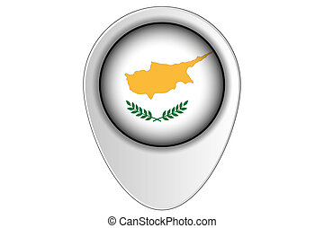 3D Map Pointer Flag Illustration of the country of Cyprus