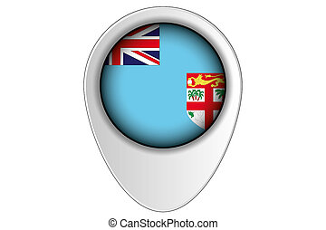 3D Map Pointer Flag Illustration of the country of Fiji - A ...