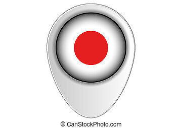 3D Map Pointer Flag Illustration of the country of Japan