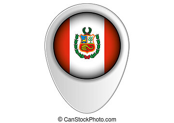 3D Map Pointer Flag Illustration of the country of Peru
