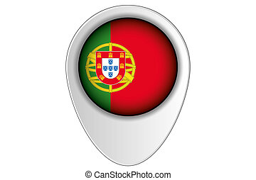3D Map Pointer Flag Illustration of the country of Portugal