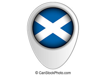 3D Map Pointer Flag Illustration of the country of Scotland