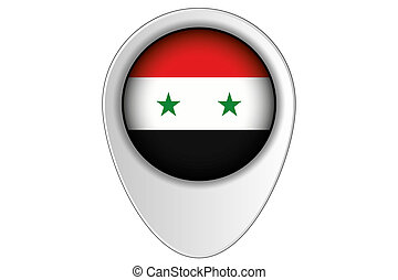 3D Map Pointer Flag Illustration of the country of Syria