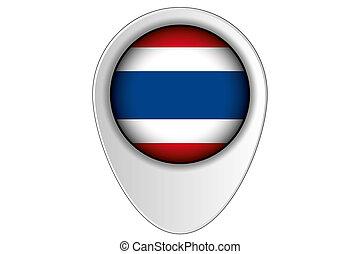 3D Map Pointer Flag Illustration of the country of Thailand