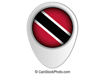 3D Map Pointer Flag Illustration of the country of Trinidad and Tobago