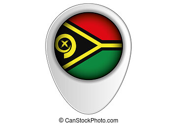 3D Map Pointer Flag Illustration of the country of Vanuatu