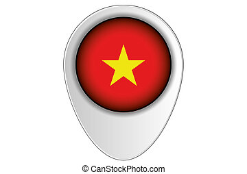 3D Map Pointer Flag Illustration of the country of Vietnam