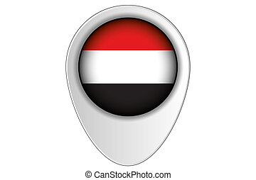 3D Map Pointer Flag Illustration of the country of Yemen