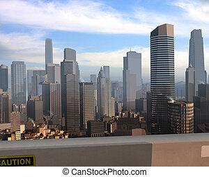 a 3d model of an imaginary city illustration