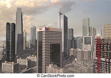 a 3d model of an imaginary city illustration - 3D city