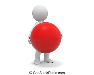 ball - A 3d people holding a red ball
