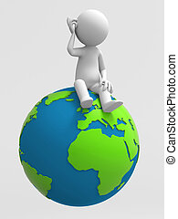 A 3d people is sitting on the earth
