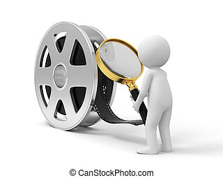 A 3d people watching the film with a magnifying glass