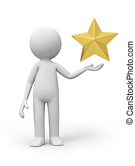 gold star - A 3d  people with a gold star