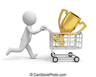 trophy - A 3d person/ a trophy in the shopping cart