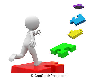 puzzle - A 3d person running along a line of puzzles
