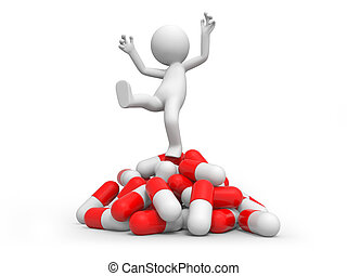 capsule - A 3d person standing on a pile of capsules