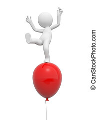balloon - A 3d person standing on a red balloon